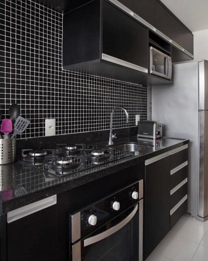 pastilhas de vidro para cozinha preta  Foto MFSanches Interiores