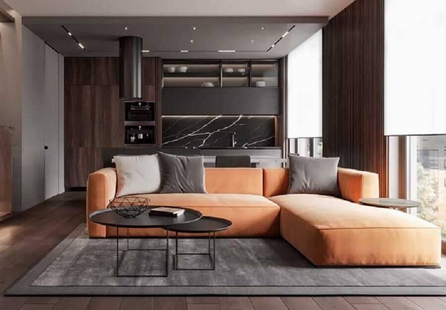 sofá em cores quentes para decoração de casa moderna cinza  Foto Futurist Architecture