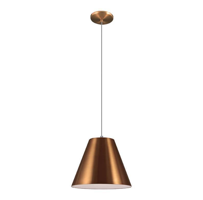 Lustre 4488 na cor cobre da Loja Lustre Yamamura. De Alumínio, é um modelo que cai bem em áreas de esta. Custa R$ 199,90 e mede 22cm de altura por 28cm de diâmetro. Sua referência é 8293279.