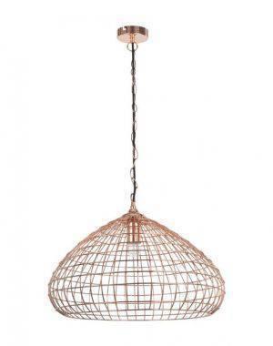Lustre CI003 na cor Cobre. Feito de metal, seu formato aramado imprime modernidade ao design. Um luxo. Tem 28cm de altura por 50cm de diâmetro e custa R$838. Código 8624316.