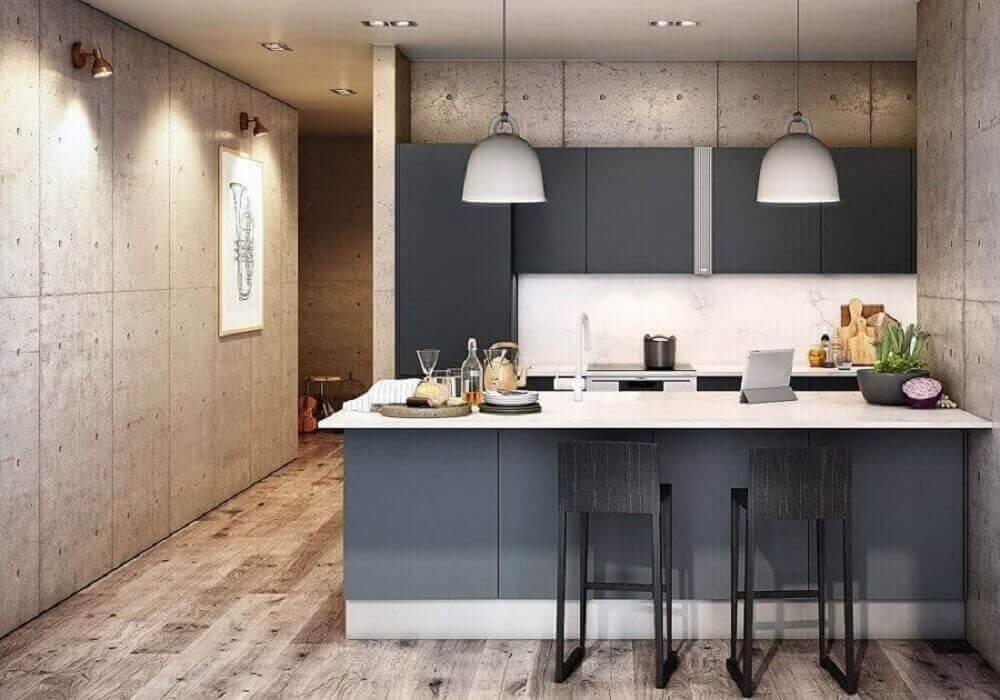 Balcão de cozinha com pendentes encantam a decoração do ambiente