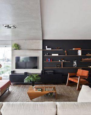 O teto rebaixado foi inspirado no pórtico de concreto apresentado pelo arquiteto português Álvaro Siza para a Expo 1998 em Lisboa. Um clássico revisitado.
