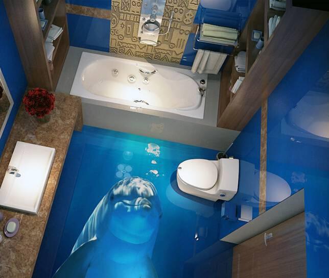 Piso de Porcelanato Liquido Epoxi ou 3D com mar golfinho no banheiro