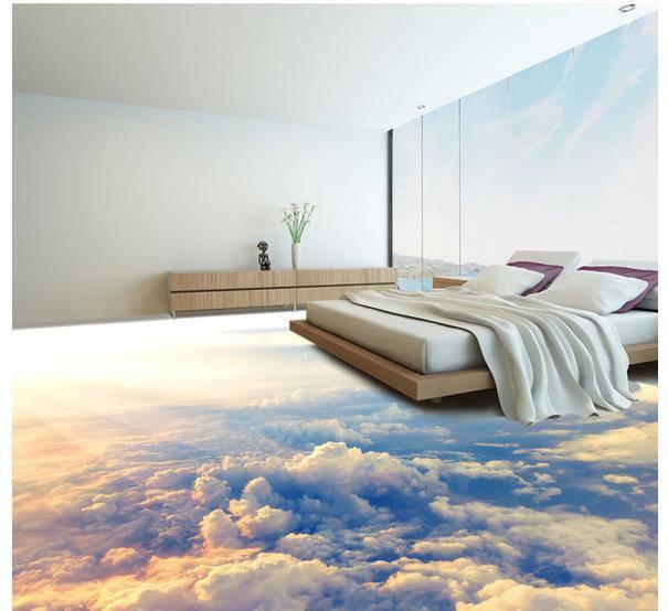 Piso de Porcelanato Liquido Epoxi ou 3D de ceu no quarto