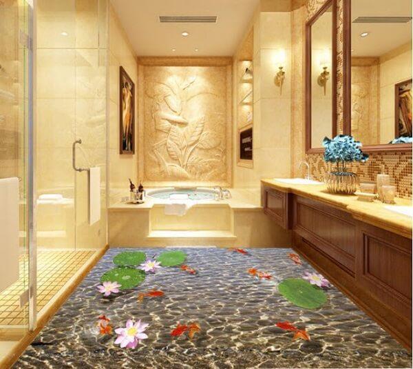 Porcelanato líquido 3d na decoração de banheiro