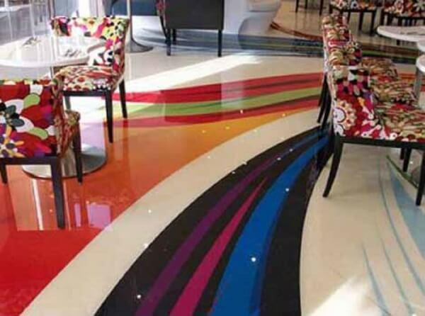 Porcelanato líquido 3d na sala para criar efeitos