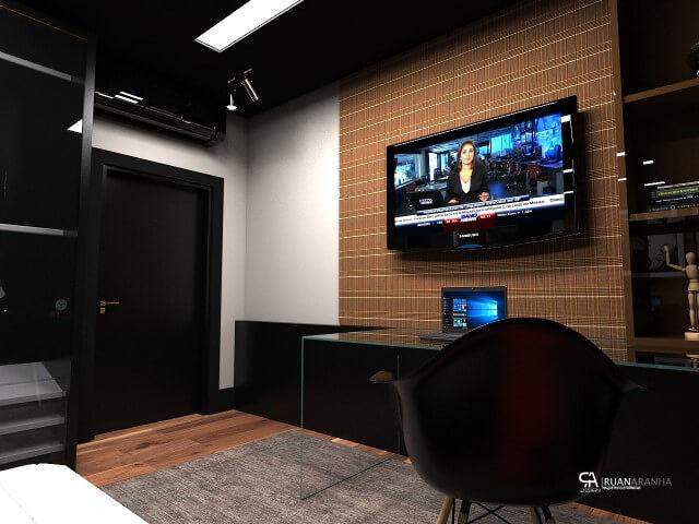 Quarto com home office e piso laminado Projeto de Ruan Aranha