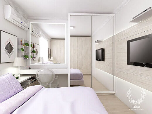 Quarto de casal clean com piso laminado Projeto de Alce Arquitetura