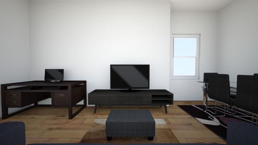 Sala integrada com escritório e piso laminado Projeto de Rui Fernandes