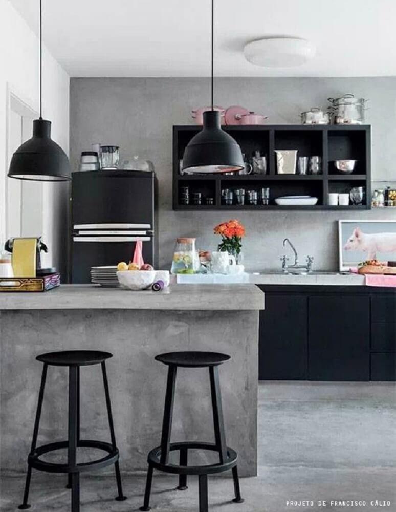 bancada de cozinha de concreto
