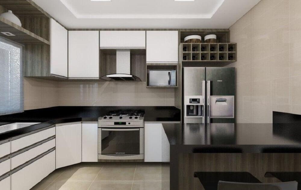 Decoração simples com balcão de cozinha em mármore preto