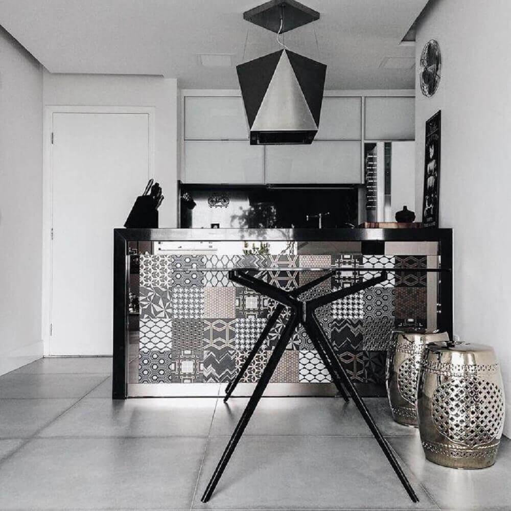 decoração preto e prata com guarden seat