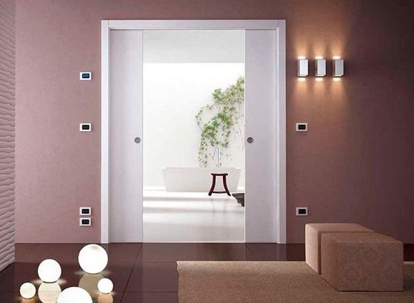 Parede de drywall com porta de correr