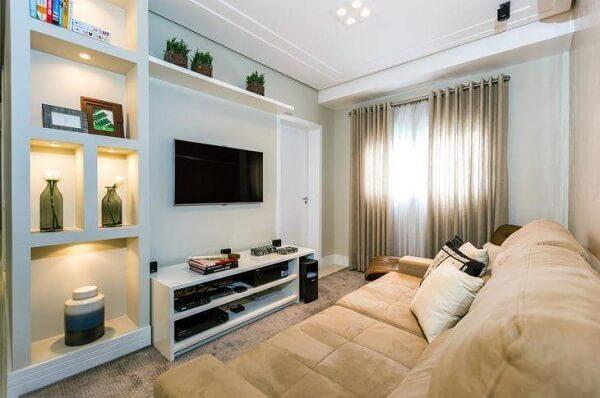 Parede de drywall na sala de estar