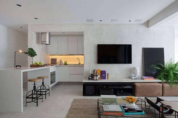 Parede de drywall para sala de estar com aparador