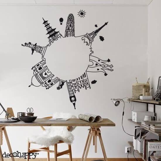adesivos de parede de itens mundiais
