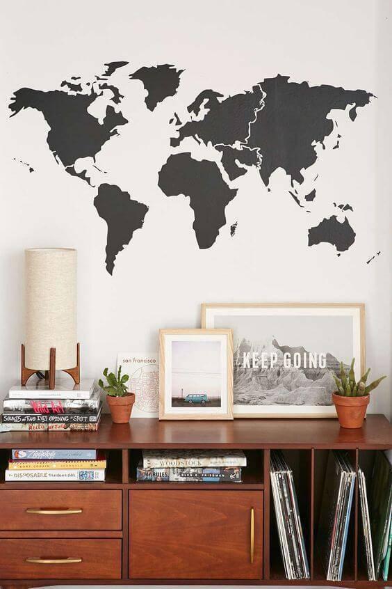 adesivos de parede de mapa mundi