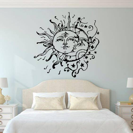 adesivos de parede de sol e lua no quarto