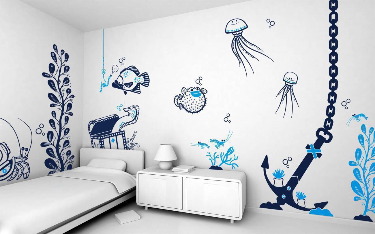 adesivos de parede tema marinho