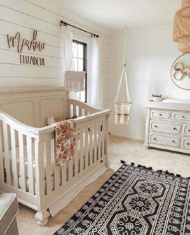 decoração clean com tapete para quarto de bebê simples Foto My Signature Timber