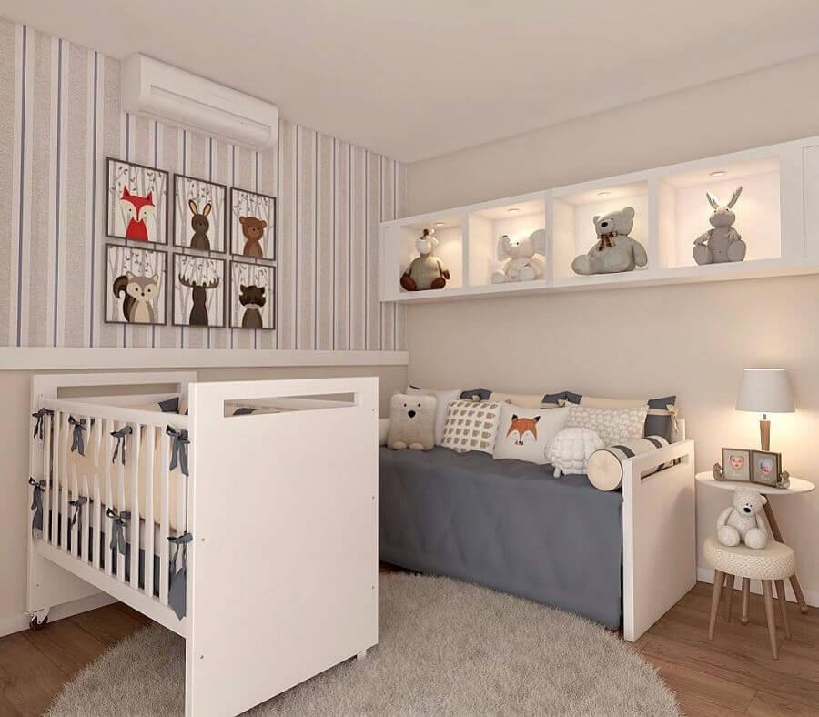 decoração com tapete redondo para quarto de bebê cinza Foto Magda Carmo Arquitetura
