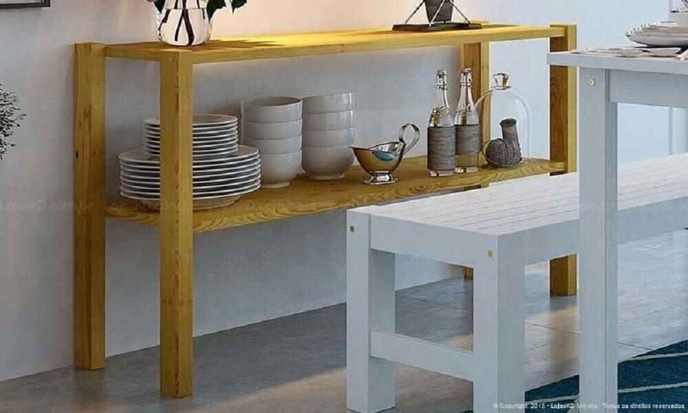 aparador de madeira para decoração de sala