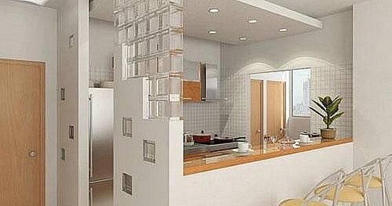 drywall na cozinha americana com tijolos de vidro