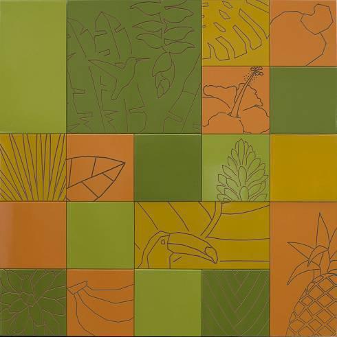 Palmeiras, costelas-de-adão, frutas e flores colorem os ladrilhos com base de madeira de eucalipto e acabamento em laca. Laura Ahrons assina, em parceria com a designer de superfície Renata Rubim.