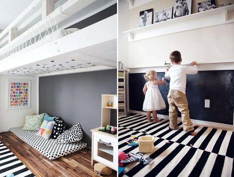 quarto montessoriano com parede de atividades e cama no chão