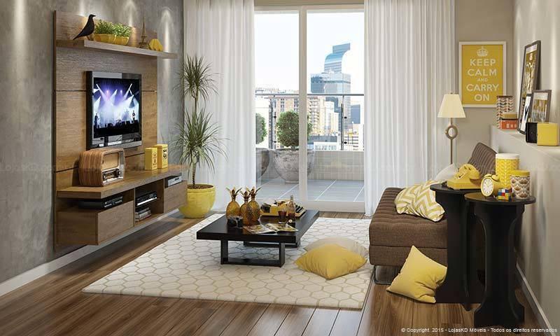Decoração de sala de TV amarelo