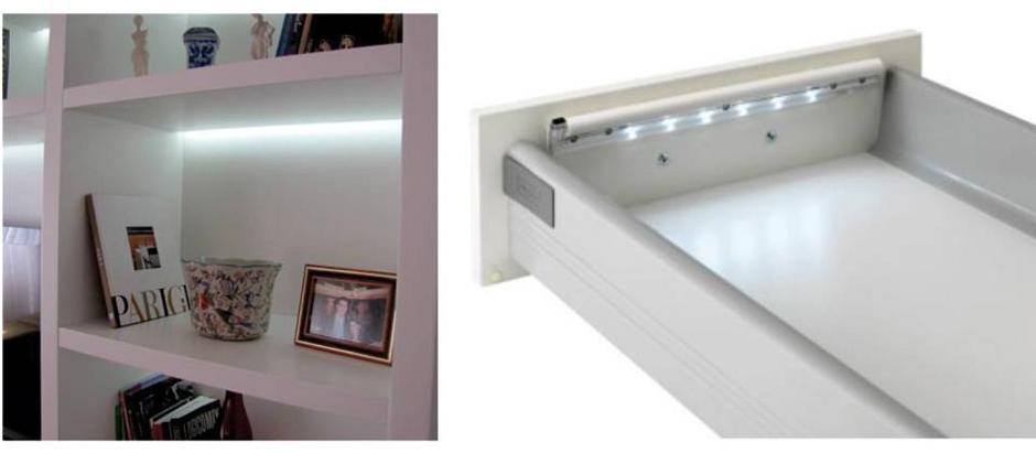 Armários, gavetas ou até paredes e espelhos podem receber este kit com LEDs da G-Light, com luz branca fria.