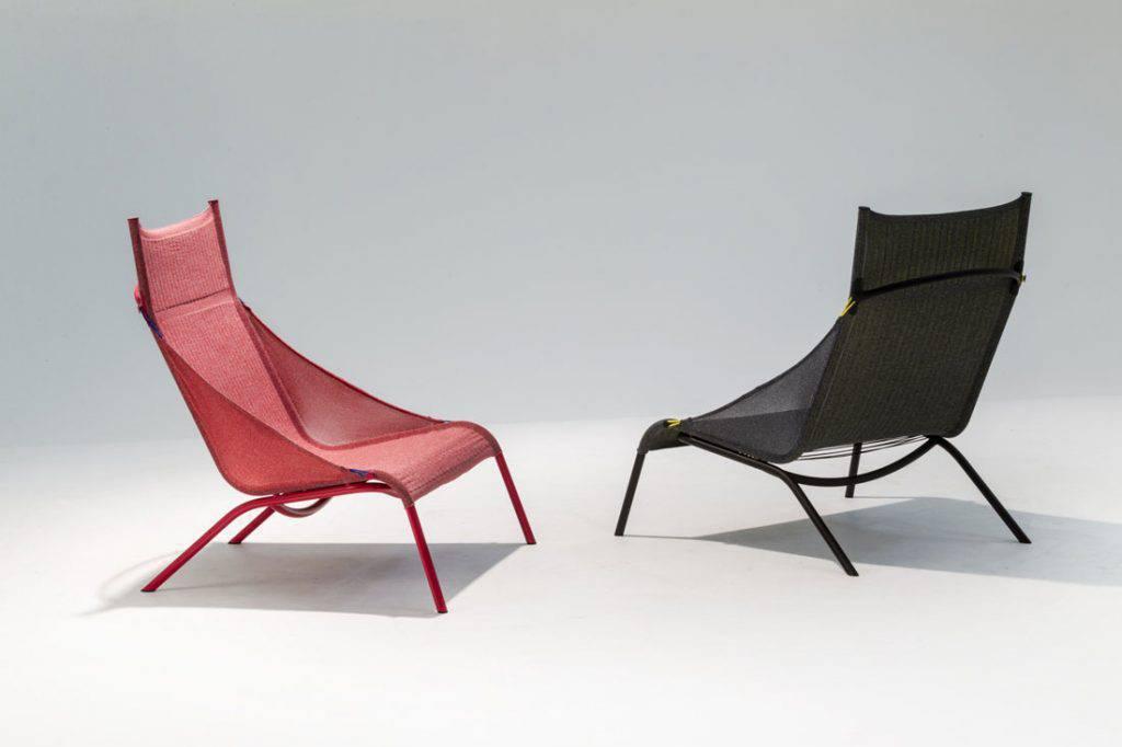Benjamin Hubert apresentou seu projeto de tricô digital para a Moroso, trazendo dois protótipos da cadeira Tent (tenda) com uma complexa malha 3D.