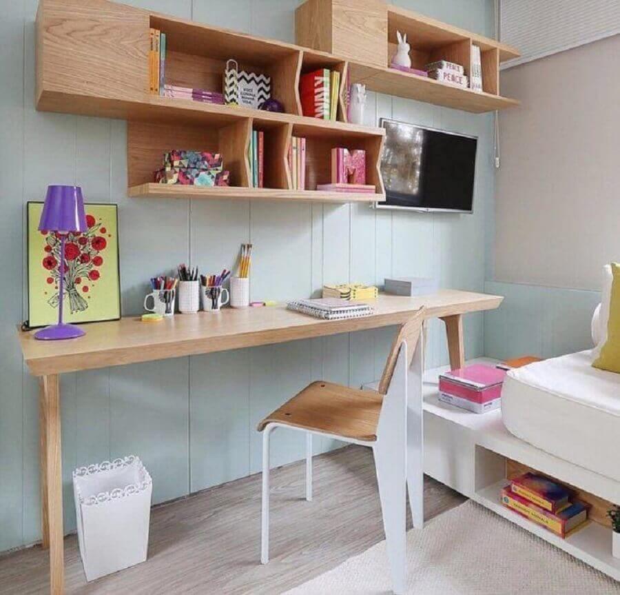 modelo de nichos para quarto feitos de madeira