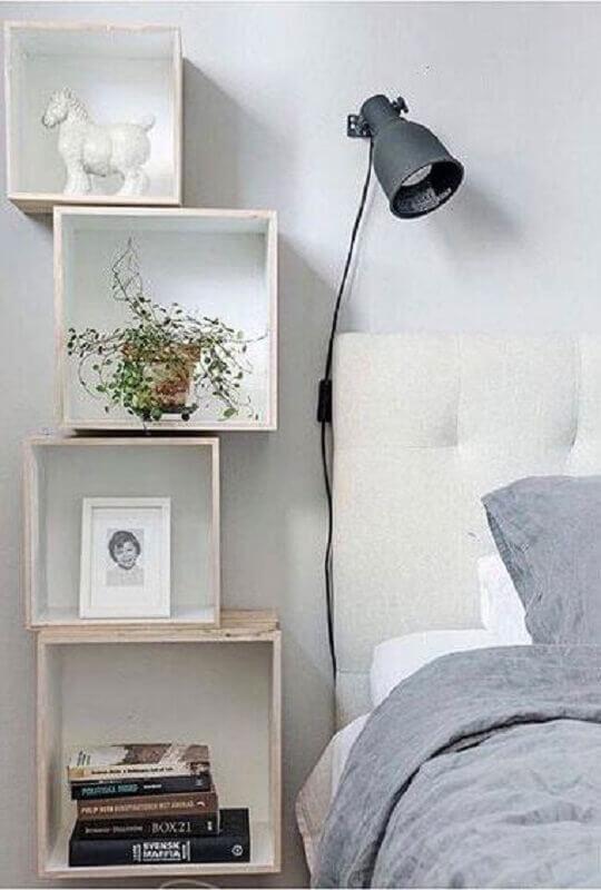 nichos para quarto com decoração clean