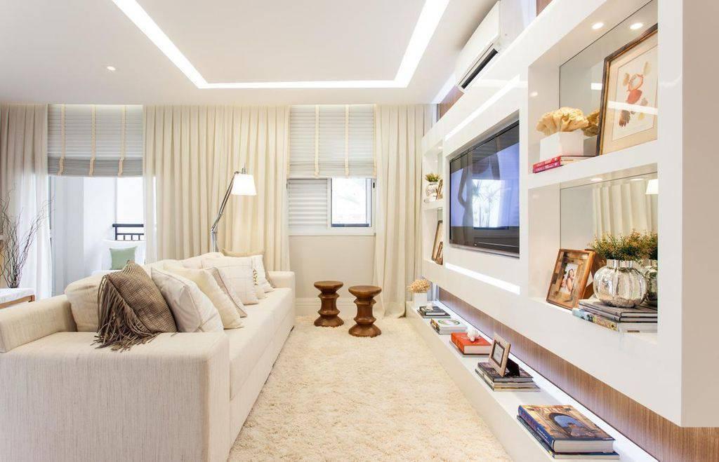 Decoração clean para sala com nichos