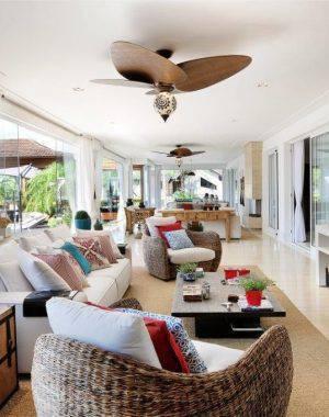 ventilador de teto na sala de estar quitete faria 41988