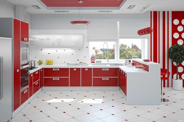 Aposte no charme da cozinha vermelha