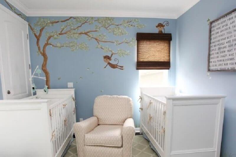 adesivos para quarto de bebê branco com paredes azuis Foto Pequena Milla