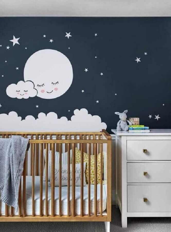 adesivos para quarto de bebê com parede azul marinho Foto Etsy