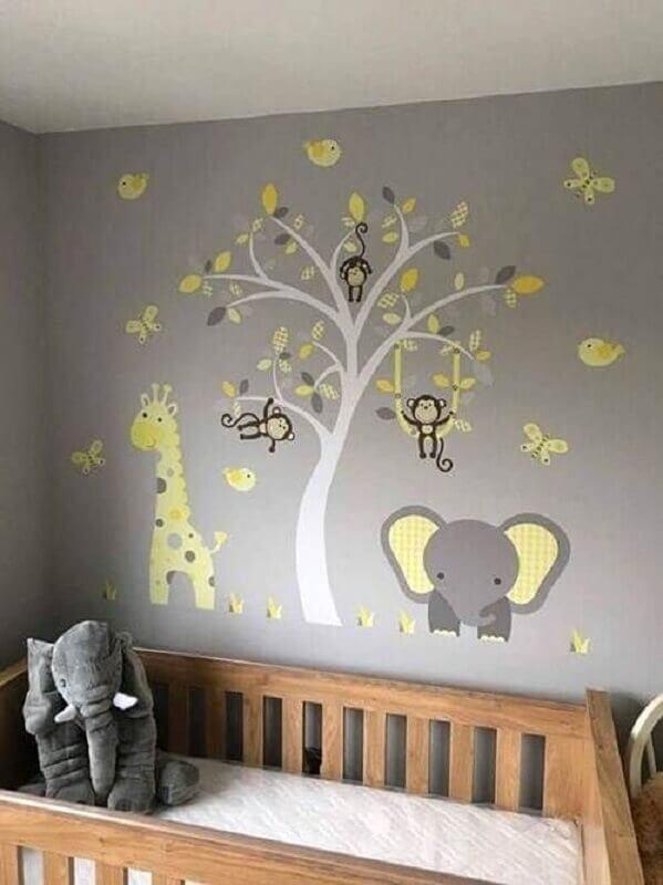 adesivos para quarto de bebê decorado em cinza e amarelo Foto Etsy