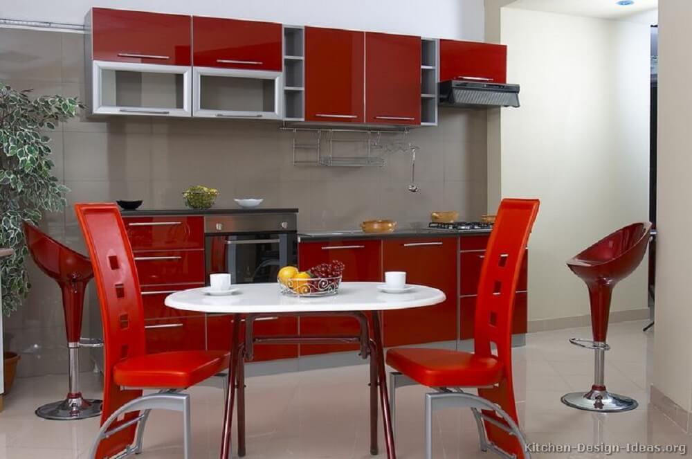 banquetas para cozinha vermelha
