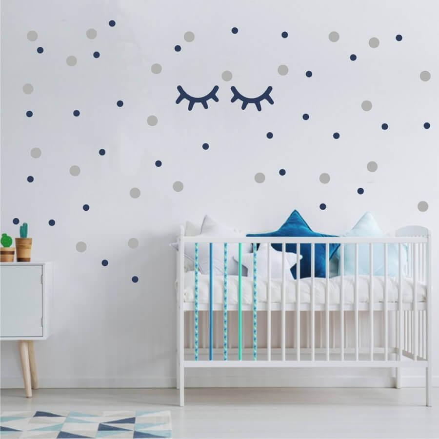 bolinhas e cílios para adesivos para quarto de bebê com decoração clean Foto Elo7