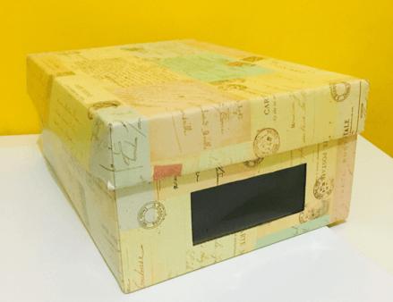 caixa organizadora de papelão envelopada