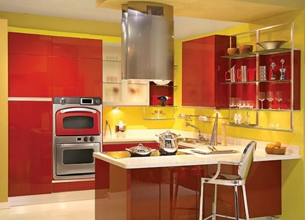 cozinha amarela e vermelha