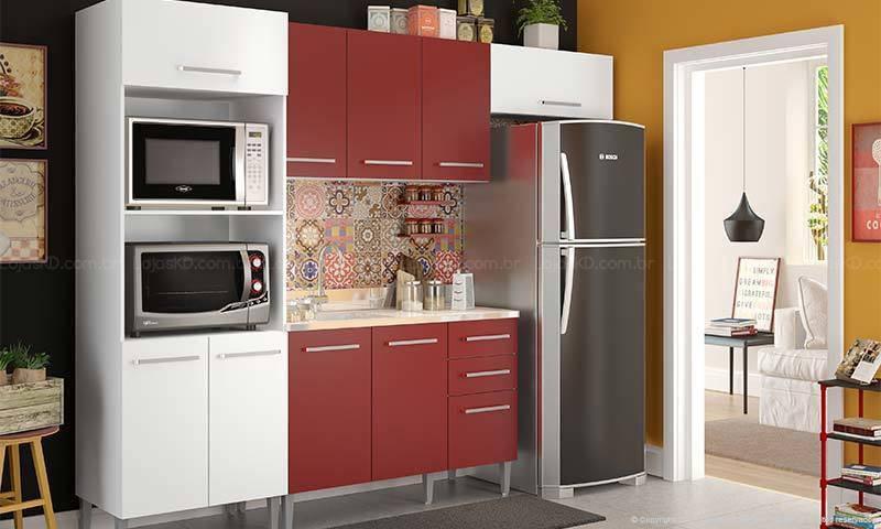 cozinha vermelha com armário pequeno