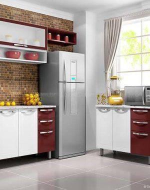 cozinha vermelha com armarios