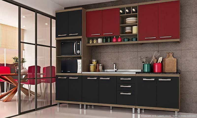 cozinha vermelha com armários pretos