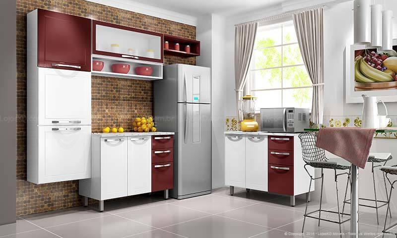 cozinha vermelha com armários