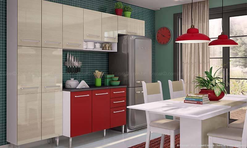 cozinha vermelha com luminárias