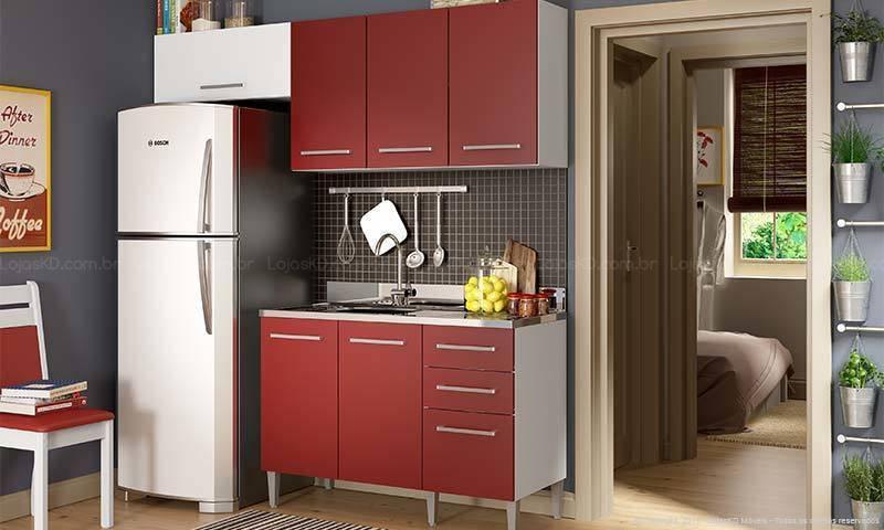 cozinha vermelha pequena
